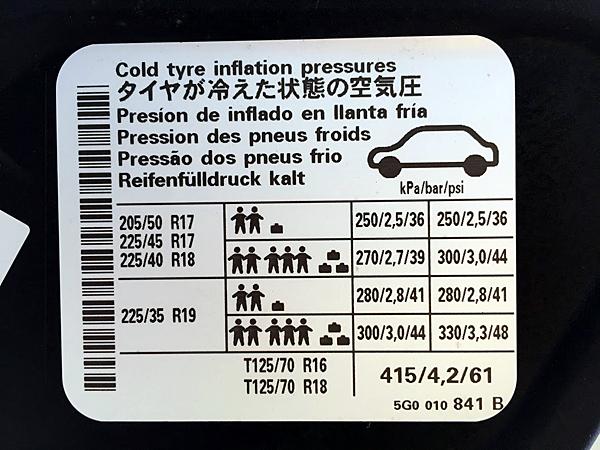 空気圧警告表示